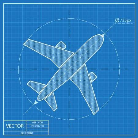 airline pilot: Airplane vector blueprint icon