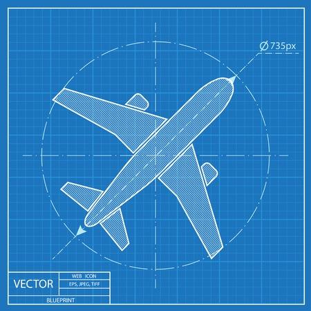 Avión icono de vector plan Ilustración de vector