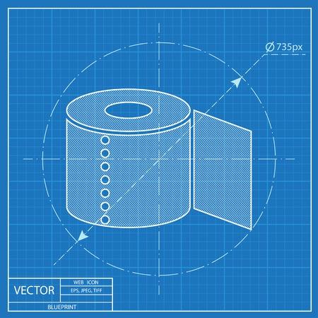 fecal: Toilet paper blueprint icon