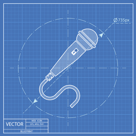 amplification: Microphone vector blueprint icon