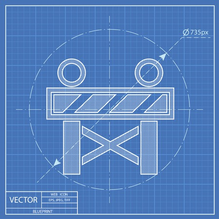 roadblock: Construction Roadblock Blueprint Icon Illustration