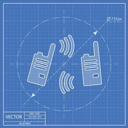 portability: vector blueprint illustration of modern radio