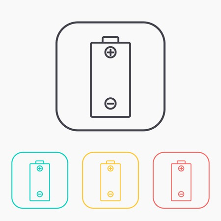 watts: color icon set of battery