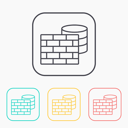 color icon set of firewall and database