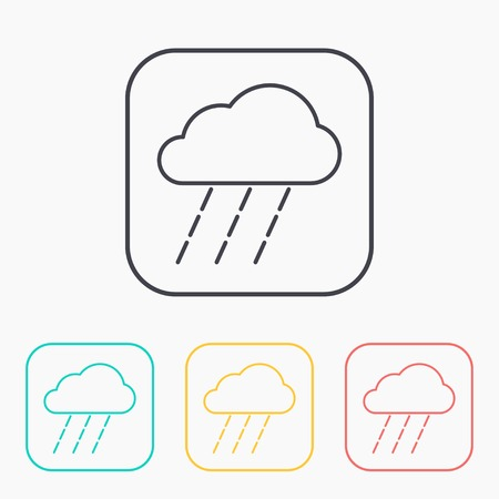 heavy rain: color icon set of heavy rain