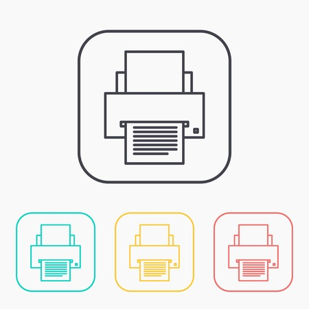 color printer: color icon set of printer Illustration