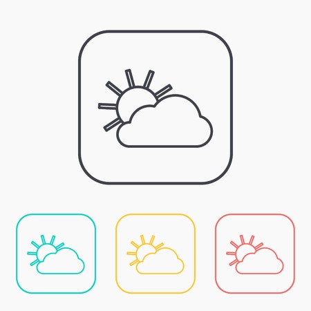 wheather: color icon set of sun and cloud