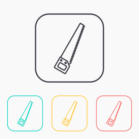 crosscut: color icon set of hand saw