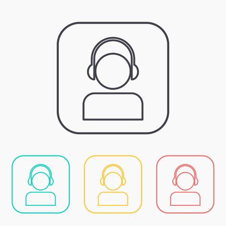 color icon set of head in headphones