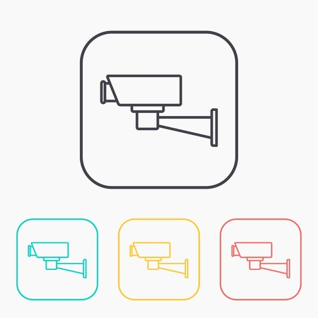monitored area: color icon set of security camera Illustration