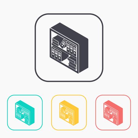 bibliography: bookshelf isometric 3d color icon set