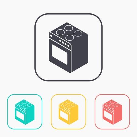 four de cuisson isométrique couleur 3d icône ensemble