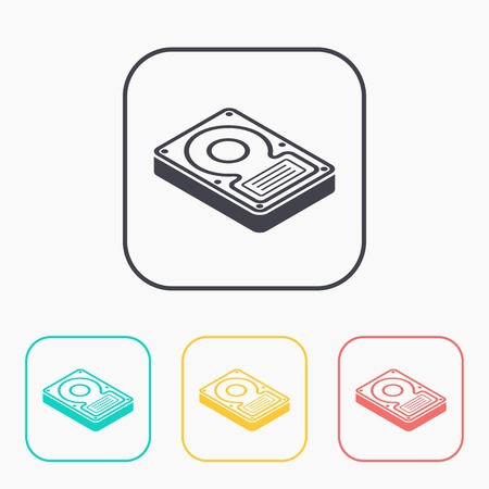 hard disk drive storage isometric 3d color icon set