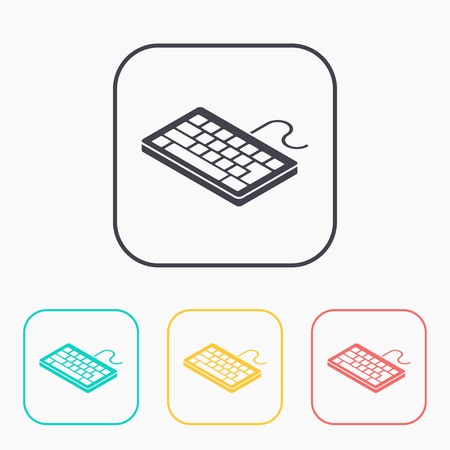 pc icon: pc keyboard isometric 3d color icon set Illustration