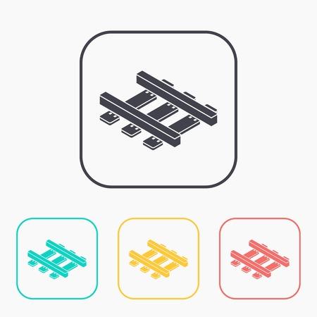 locomotion: railroad isometric 3d color icon set Illustration