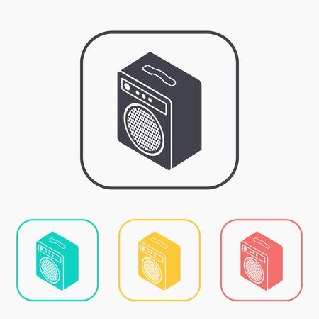 guitar amplifier: guitar amplifier isometric 3d color icon set Illustration