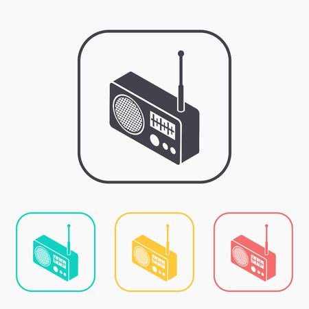 favorite colour: radio isometric 3d color icon set
