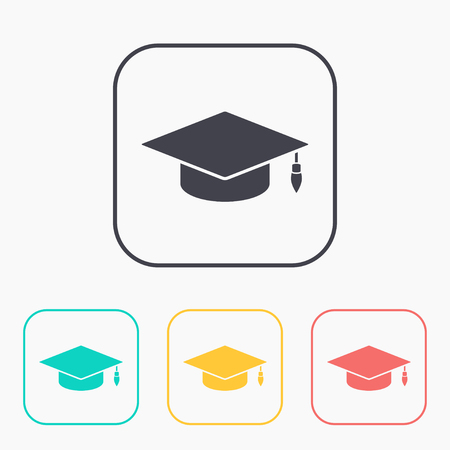 master degree: academic hat vector color icon set