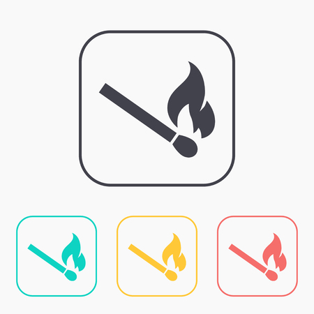 color match: burning match vector color icon set