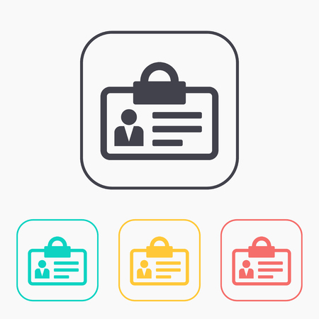 Identification card color icon set Illustration