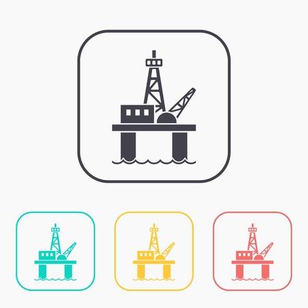 oil platform: Oil platform color icon set