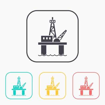 Oil platform color icon set