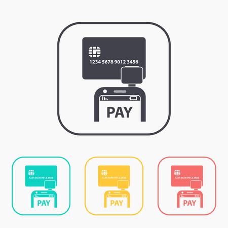 reader: Mobile payment. reader on smartphone scanning a credit card