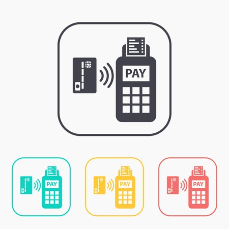 wirelessly: Card paying wirelessly over POS terminal. Vector color icon set. Illustration