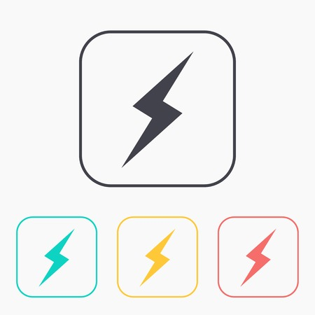 electrocute: color icon set of lightning