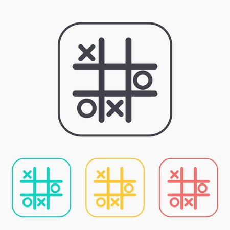 Tic tac toe game vector color icon set