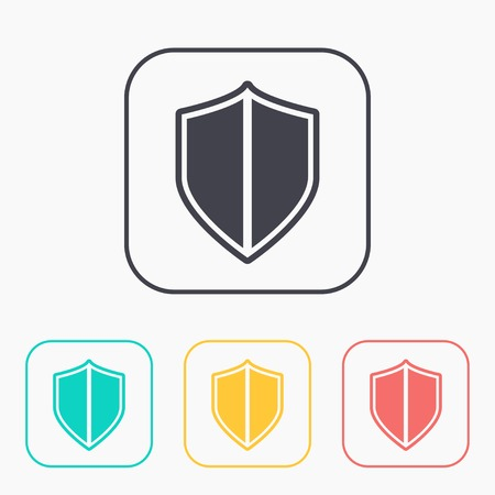 honour guard: shield safety vector color icon set