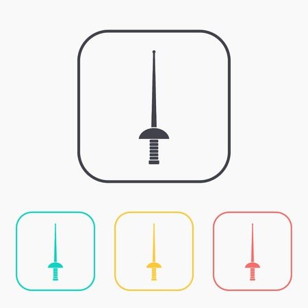 epee: rapier epee vector color icon set Illustration