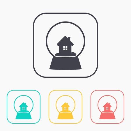 snowglobe: snowglobe with house vector color icon set