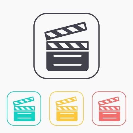 clapperboard: film clapperboard vector color icon set