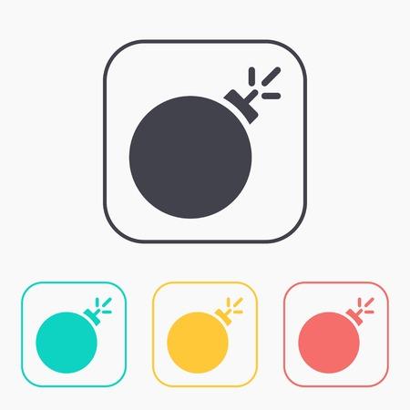 bomb threat: burning bomb vector color icon set Illustration