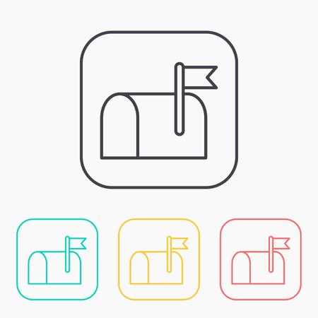 telegrama: Correo cuadro de contorno de color conjunto de iconos
