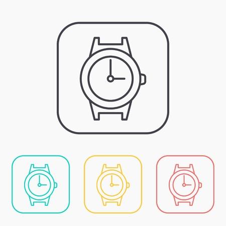 wrist: wrist watch outline color icon set Illustration