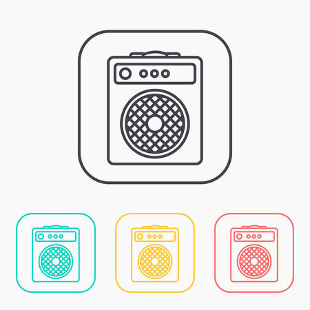 amplifier: guitar amplifier outline color icon set