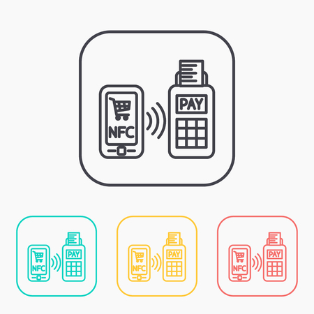 wireless terminals: nfc payment from mobile phone outline color icon set
