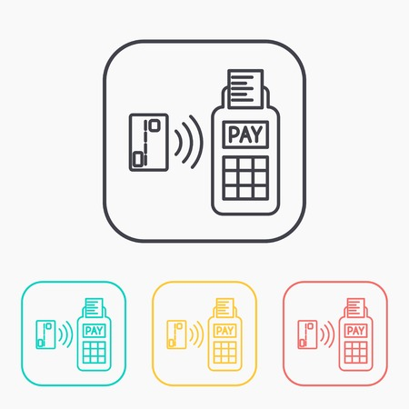 wirelessly: Card paying wirelessly over POS terminal. Vector outline color icon set. Illustration