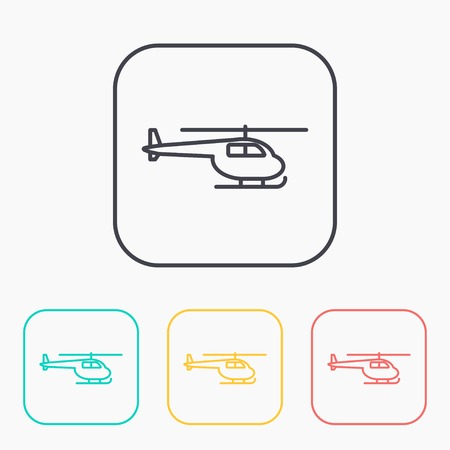 fuselage: Helicopter color icon set