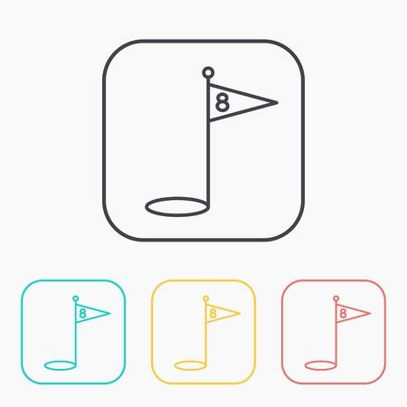 minigolf: Hole Course Golf color icon set Illustration