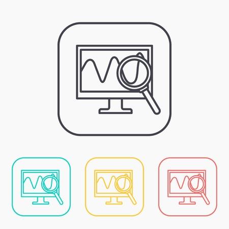 Monitoring color icon set Vektoros illusztráció