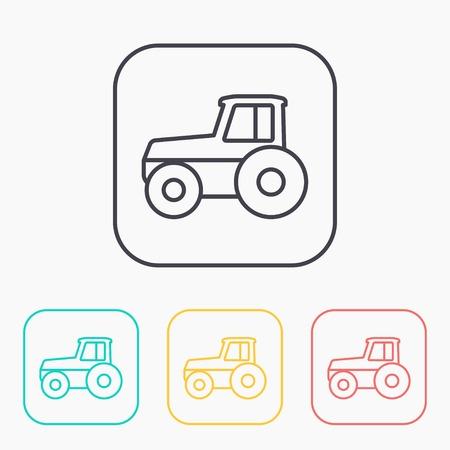 Tractores De Colores Sobre Fondo Blanco. Tractores En Estilo Plano ...