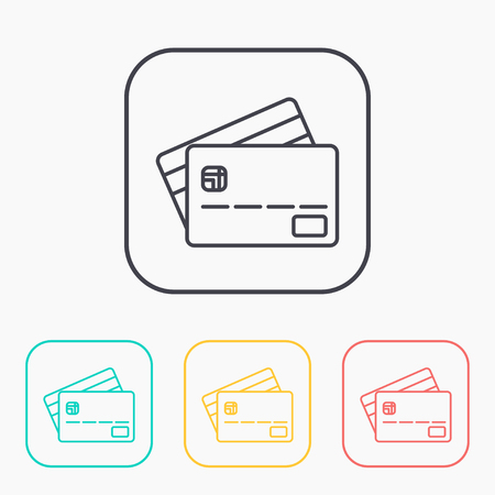 transact: Credit card color icon set