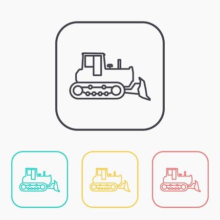 quarry: bulldozer color icon set