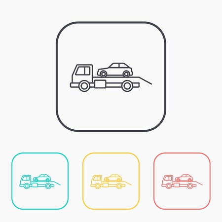 tow car: Tow car evacuation color icon set Illustration