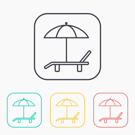 deck chair: Beach vector color icon set. Umbrella with deck chair Illustration