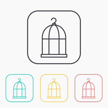 caged: Bird cage color icon set Illustration