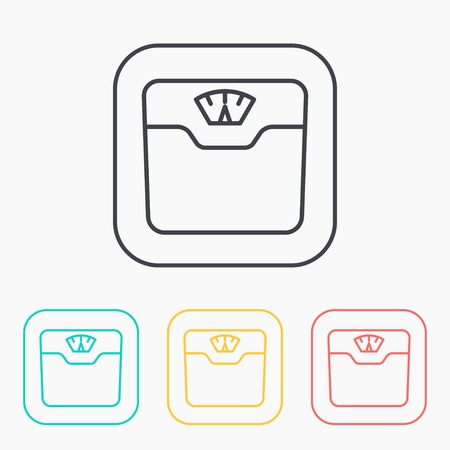 bathroom weight scale: Vector bathroom weight scale color icon set Illustration